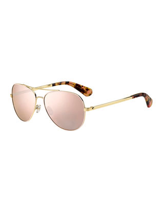 avaline mirrored aviator sunglasses
