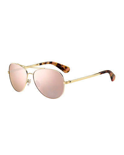 kate spade new york avaline mirrored aviator sunglasses