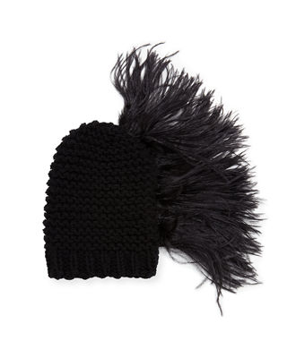 Gigi Burris Claudelle Wool-Cashmere Knit Beanie w/ Feather