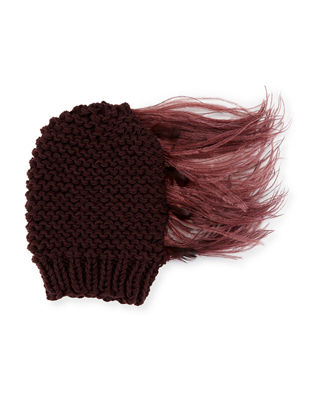 Claudelle Wool-Cashmere Knit Beanie w/ Feather Plume