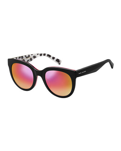 Round Mirrored Sunglasses w/ Glittered Interior