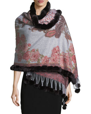 Multi-Print Cashmere Stole w/ Fur Trim, Red