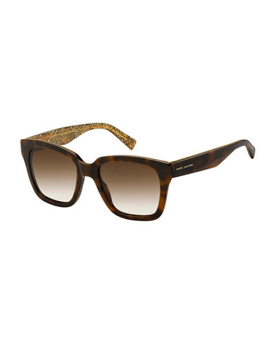 Square Mirrored Sunglasses w/ Glittered Interior