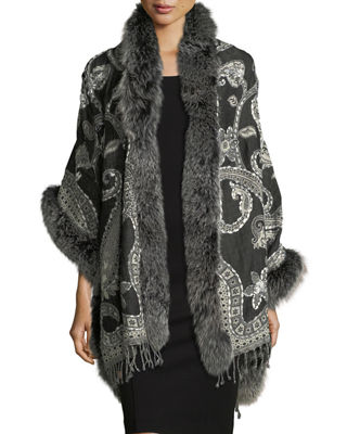 Wool Paisley Wrap w/ Fur Trim