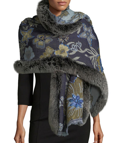 Belle Fare Wool Paisley Wrap w/ Fur Trim
