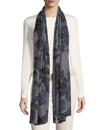 Cashmere Stola Amaryllis Floral Pattern Soft Air Scarf