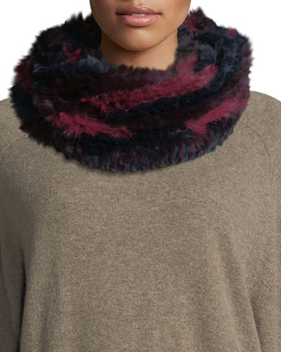 Jocelyn Long Hair Rabbit Fur Infinity Scarf