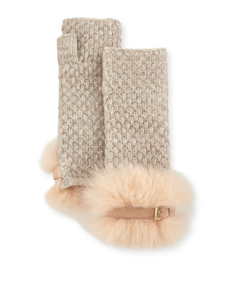 Portolano Cashmere Fingerless Gloves w/ Fur & Buckle