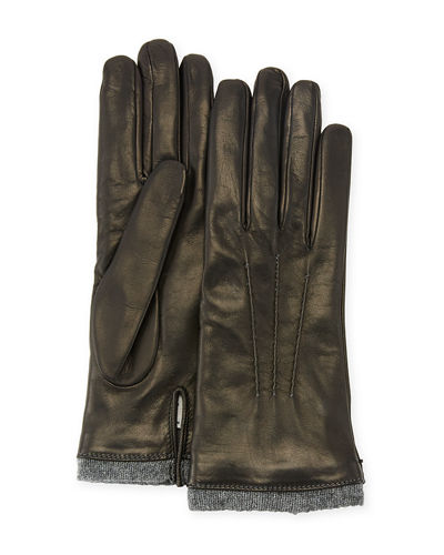 Mario Portolano Leather Gloves w/ Cashmere Trim