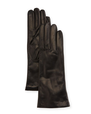 Cashmere-Lined Napa Leather Touch Screen Gloves