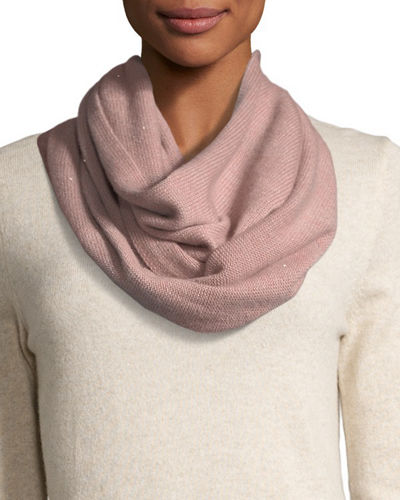 Sequined Cashmere/Silk Infinity Scarf