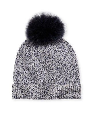Marbled-Knit Beanie Hat w/ Fur Pompom