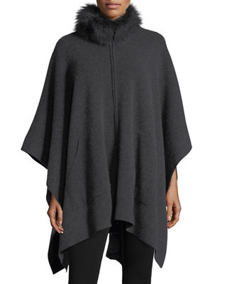 Cashmere Cape w/ Fur Mock Neck