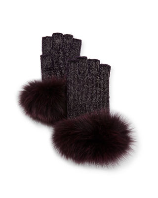 Sofia Cashmere Lurex?? Knit Fingerless Gloves w/ Fur