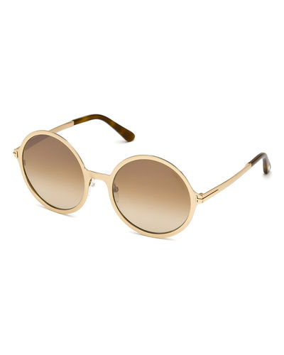 TOM FORD Round Gradient Metal Sunglasses