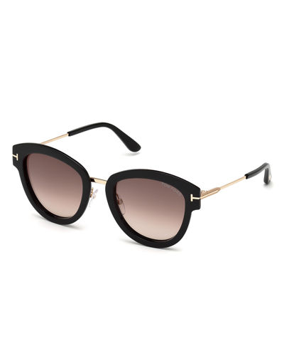 Oval Mirrored Acetate/Metal Sunglasses