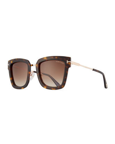 TOM FORD Lara Acetate & Metal Square Sunglasses