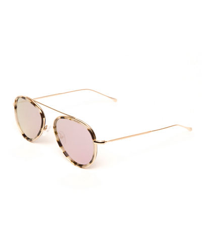Single-Bridge Acetate Aviator Sunglasses
