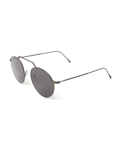 Round Geometric Bar Mirrored Sunglasses