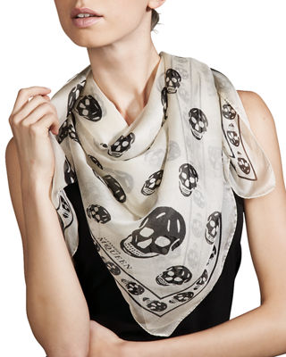 Image 1 of 4: Silk Mixed Skull Square Scarf