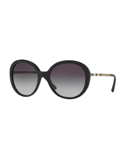 Check-Temple Gradient Butterfly Sunglasses