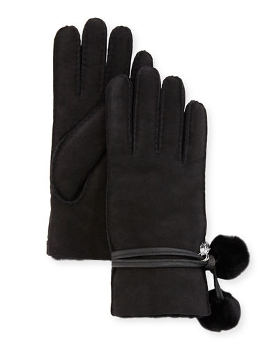 UGG Brita Shearling-Lined Gloves w/ Pompoms & Charms
