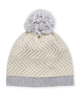 Knit Wool-Blend Beanie Hat w/ Yarn Pompom