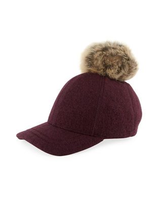 Wool-Blend Baseball Hat w/ Fur Pompom