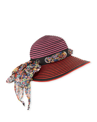 Missoni Sun Hat w/ Scarf Detail