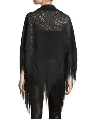 Image 2 of 4: Lace Wrap w/ Long Fringe Trim