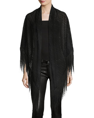 Image 1 of 4: Lace Wrap w/ Long Fringe Trim