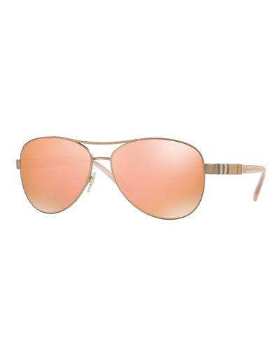 Mirrored Steel Aviator Sunglasses
