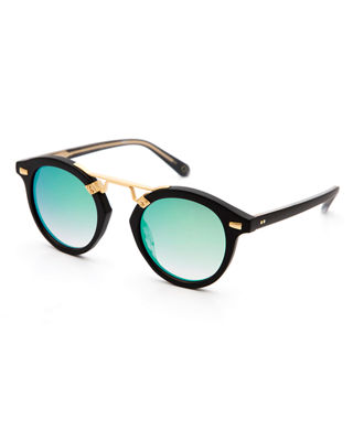 KREWE St. Louis II Two-Tone Round Acetate Sunglasses,