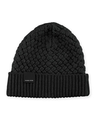 Basket-Stitch Wool Toque Hat