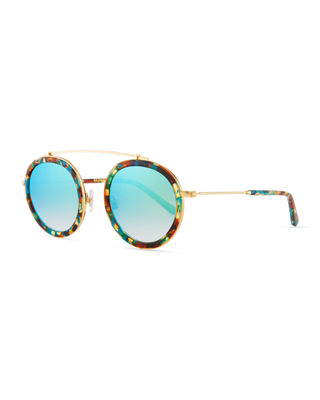 KREWE Conti Mirrored Round Aviator Sunglasses, Multi Pattern