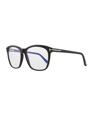 Blue Block Two-Tone Transparent Acetate Square Optical Frames