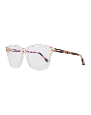 c24c73656c TOM FORD Blue Block Two-Tone Transparent Acetate Square Optical Frames