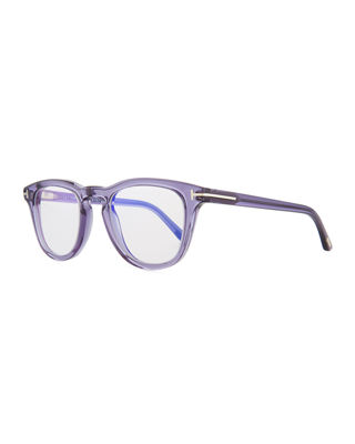 49Mm Blue Block Optical Glasses - Shiny Transparent Grey/ Blue