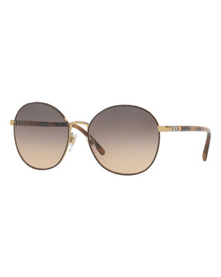 Image 1 of 2: Check-Trim Round Mirrored Sunglasses