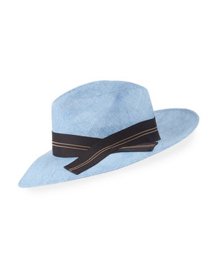 Straw Fedora Sun-Hat with Grosgrain Ribbon