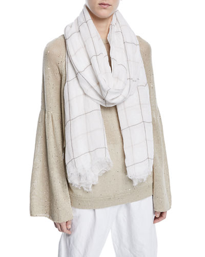 Linen Scarf with Monili Windowpane