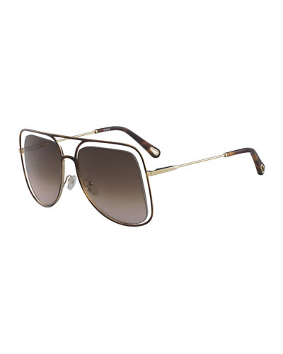 Chloe Poppy Cutout Metal Aviator Sunglasses