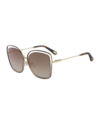 Chloe Poppy Cutout Metal Square Sunglasses