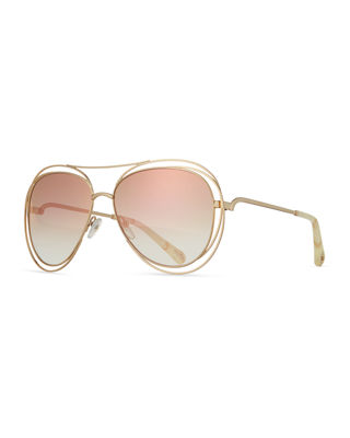 Chloe Carlina Trimmed Aviator Sunglasses