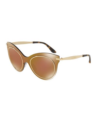 Dolce & Gabbana Mixed-Media Cat-Eye Sunglasses
