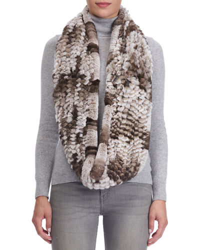 Gorski Knit Rabbit Fur Infinity Scarf