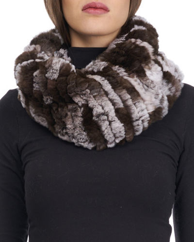 Knit Rabbit Fur Neck Warmer