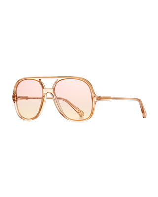 Oversized Plastic Square Pilot Sunglasses