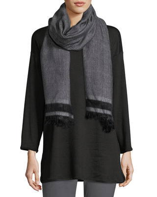 Eileen Fisher Handloomed Chevron Cotton Fringe Scarf