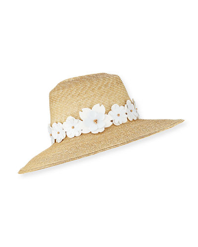 Fauna Tapered Sun Hat w/ Vinyl Flower Trim